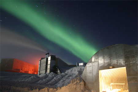 Amundsen-Scott South Pole Station and aurora during the long Antarctic night.